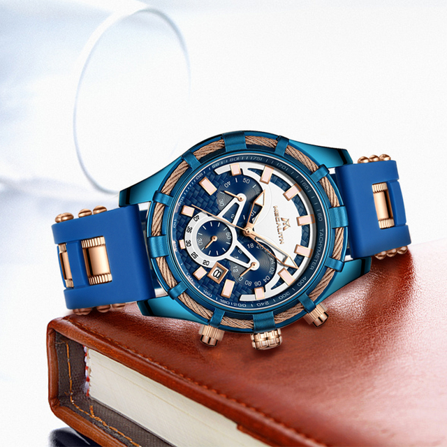 Relogio Masculino MEGALITH Blue Silicone Strap Mens Watches Top Brand Luxury Waterproof Sports Chronograph Quartz Wrist Watches