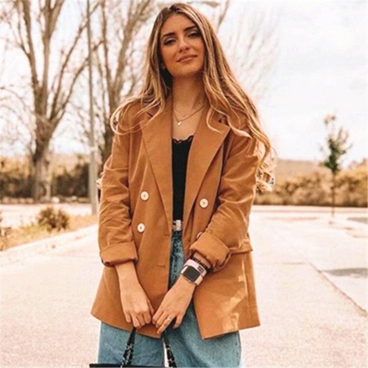 Офисный костюм для дам Повседневный однотонный Блейзер, женский пиджак 2019 осень зима уличная одежда с длинным рукавом Длинный блейзер