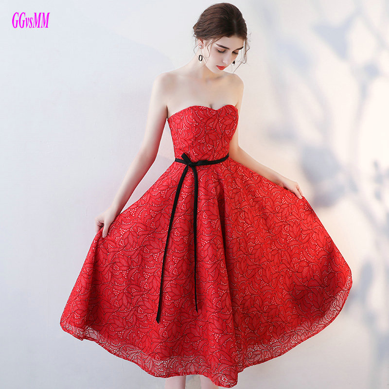 Gorgeous Red Lace   Prom     Dresses   2019 New Casual Homecoming   Dress   Short Sweetheart Lace-Up Tea-Length Sexy Plus Size   Prom   Gowns