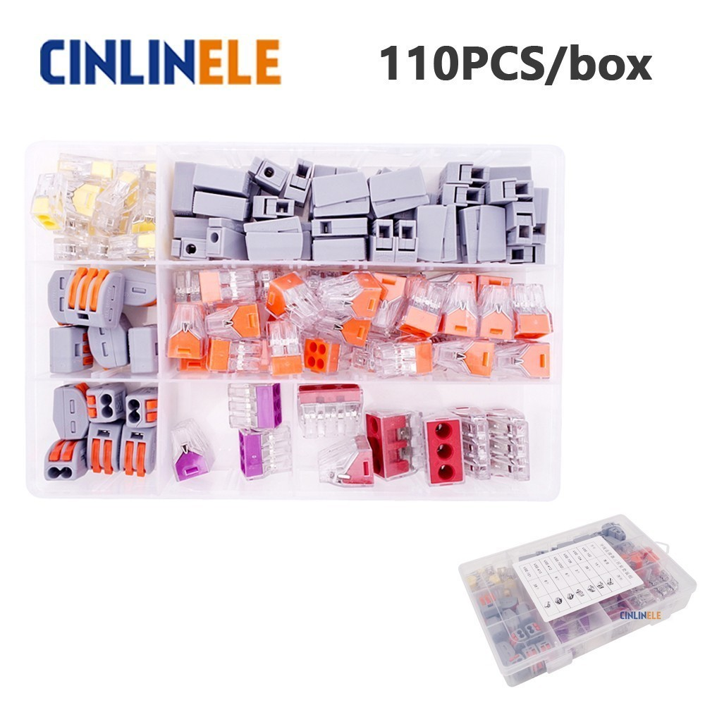 110pcs/box 3-room-set fast WAGO Connector set Mixed Models Universal Compact Wire Wiring Connector Conductor Terminal Block mini fast wago connector mixed model set universal compact wire wiring connector 1 2 3 4 5 conductor terminal block