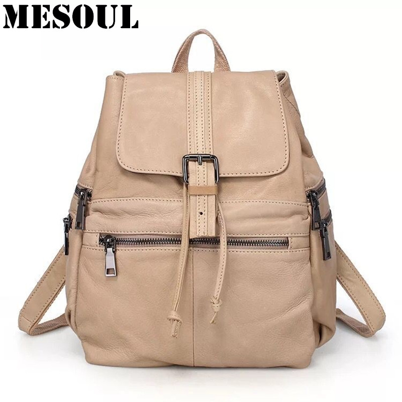 Casual Backpack Women Genuine Leather Backpack For Girls School Bags Mochila High Quality Cow Leather Travel Shoulder Bag Female 2016new rucksack luxury backpack youth school bags for girls genuine leather black shoulder backpacks women bag mochila feminina