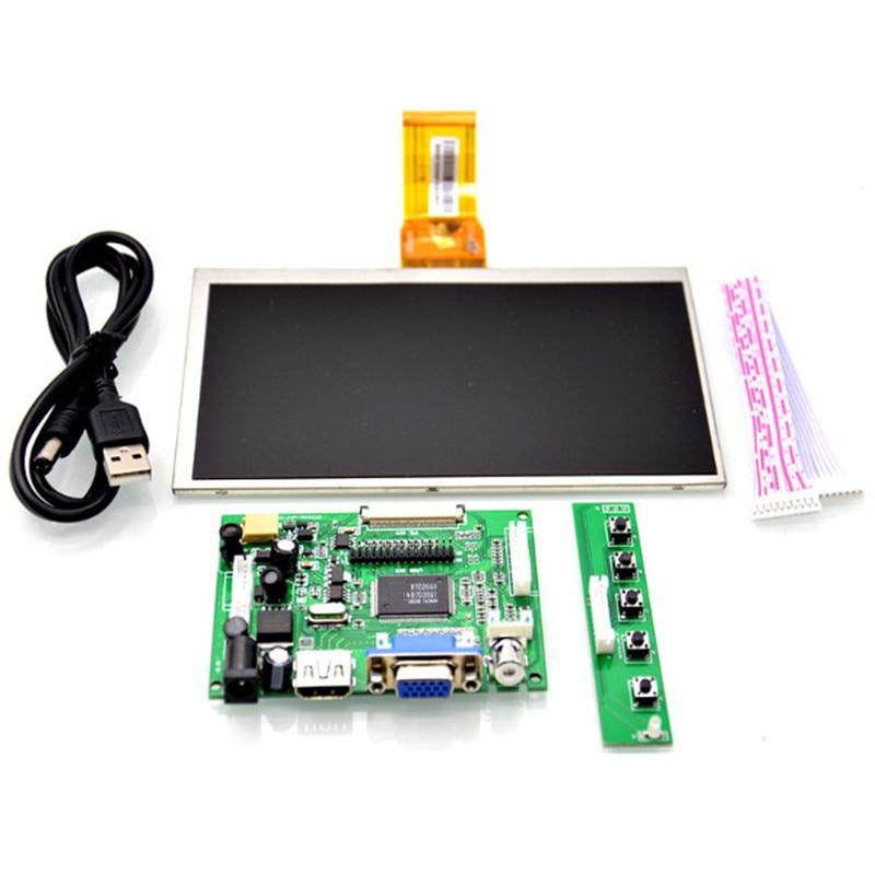 New Raspberry Pi 7 HD screen kit inch HDMI HD 1024X600 LCD Screen +VGA Head + Driven Plate + Key + Remote Control Wiring raspberry pi 7 inch lcd kit hdmi vga 2av hd lcd kit for car lcd screen vga head driven plate key remote control wiring