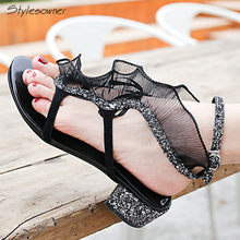 a72a74d83cc87 Stylesowner 2018 Bling Sequined Summer Black Lace Sandals Ankle Buckle  Chunky Heels Shoes Crystal Women Sexy Clip Toe New Shoes