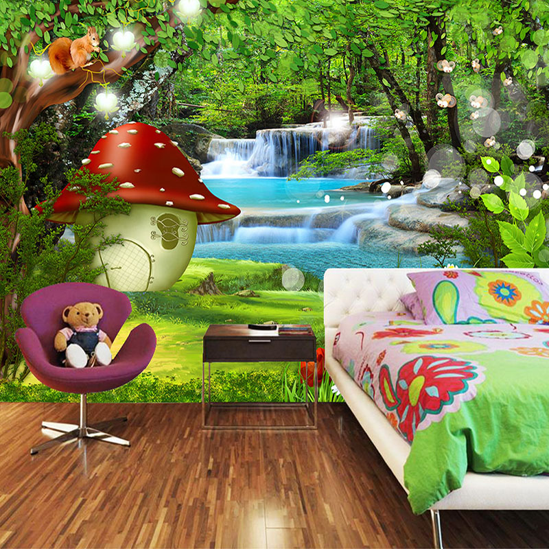 Custom 3D Photo Wallpaper For Kids Room Cartoon Children Room Green Forest Decoration Mural Backdrop Wallpaper For Bedroom Walls