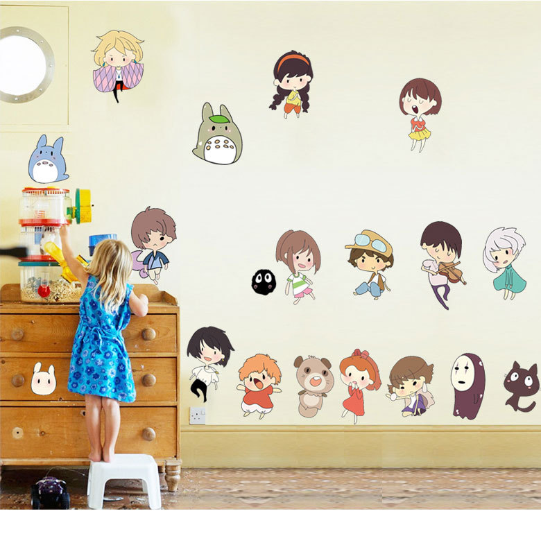Lovely Cartoon Wall Sticker For Kids Room Japanese Animation Small Cute Characters Decorative Stickers  Wall Stickers Home Decor
