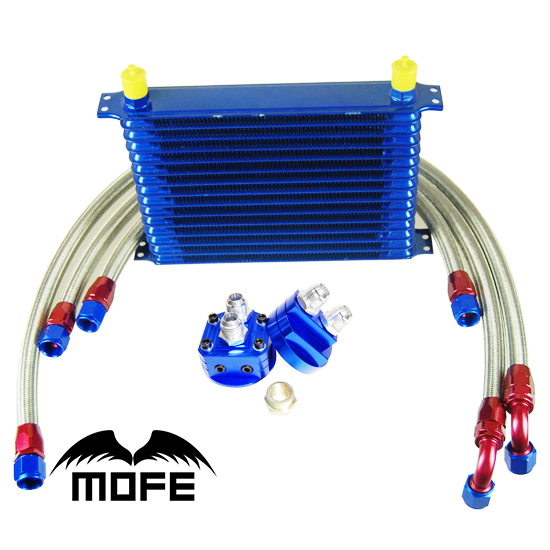Engine Transmission AN10 15 Row Aluminum Oil Cooler Kit With Oil Filter Sandwich Adapter + Braided Stainless Steel Fuel Lines jiangdong engine parts for tractor the set of fuel pump repair kit for engine jd495
