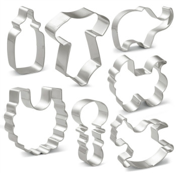 KENIAO Baby Shower Cookie Cutters Set - 7 Piece - Biscuit / Fondant / Pastry / Bread / Sandwich Cutter - Stainless Steel