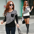 Women Striped Shirt Long Sleeve O-Neck Shirts Casual Contrast Color Pockets Patchwork Summer Autumn Tops female Garment