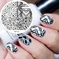 1 Pc BORN PRETTY BP43 Star Tree Triangle Geo Design Nail Art Stamping Template Image Plate Nail Stamp Plate