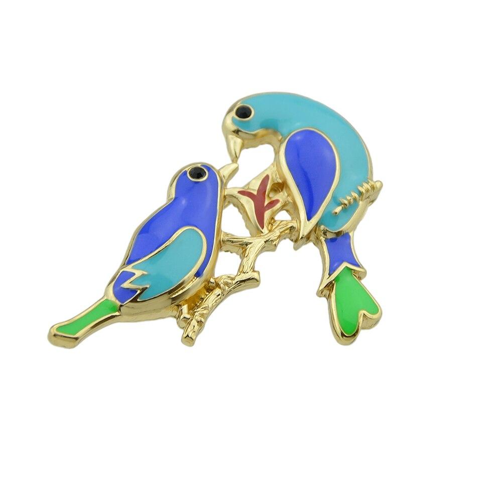 d3cbd22a062d Kayshine Animales Broches de Oro Esmalte de Color Con el Azul Verde Banches  Con Dos Pájaros Broches Para Las Mujeres Accesorios de La Joyería en Broches  de ...