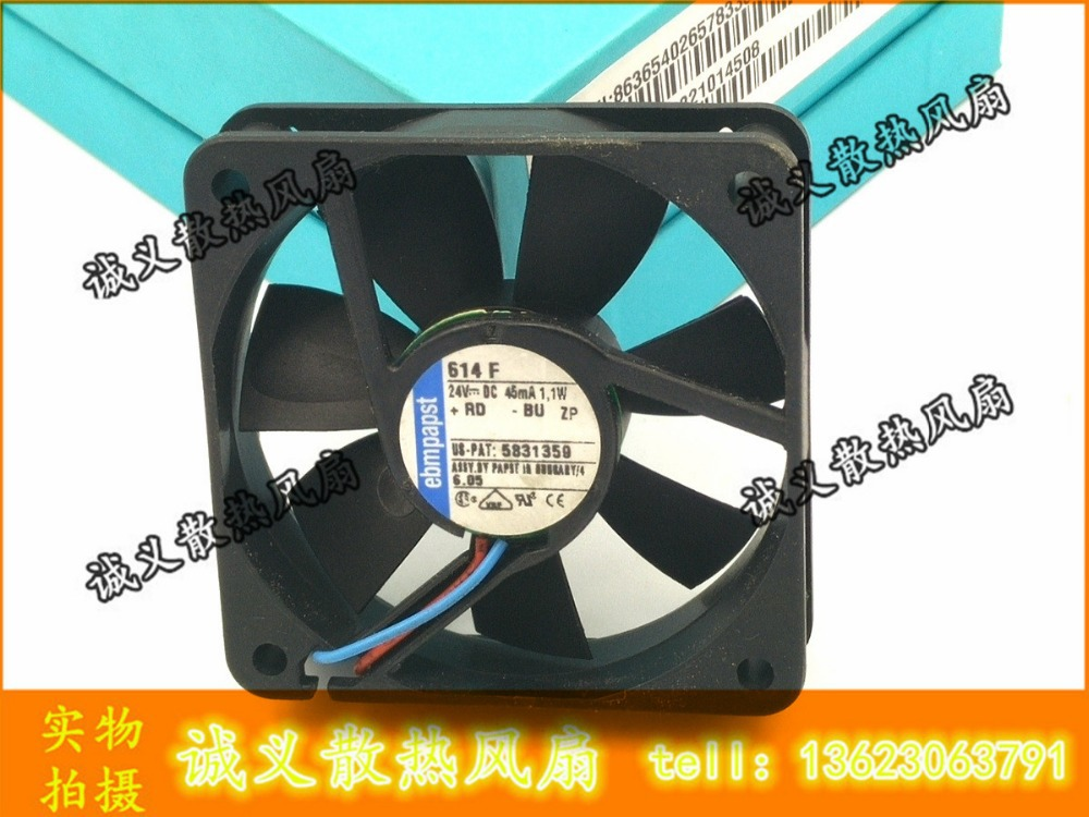 CPU Cooler Fan for EBM PAPST 614f/2 6015 24V 1.1W 6cm 60x60x15mm Original frequency converter cooling fan 230v 1a 50hz ebm papst r2e280 ae52 17 variable frequency fan cooling fan