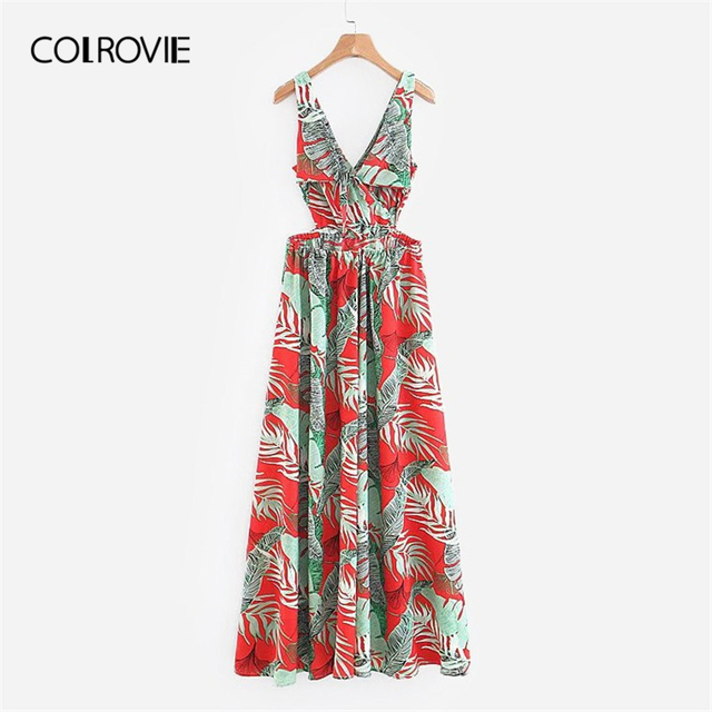 25fa1e748 COLROVIE V-Neck Foliage Print Slit Casual Vacation Boho Dress Women 2019  Summer Fashion Sleeveless A Line Sexy Beach Maxi Dress