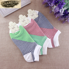 Women Ankle Invisible Cotton Short Socks Low Cut Breathable Jacquard Stripe Female Ship Boat Socks Hosiery