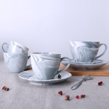 1 Pc Modern Minimalist Marbled Ceramic Coffee Cup Grey Marbled Tea Cup & Saucer Drinkware Gift