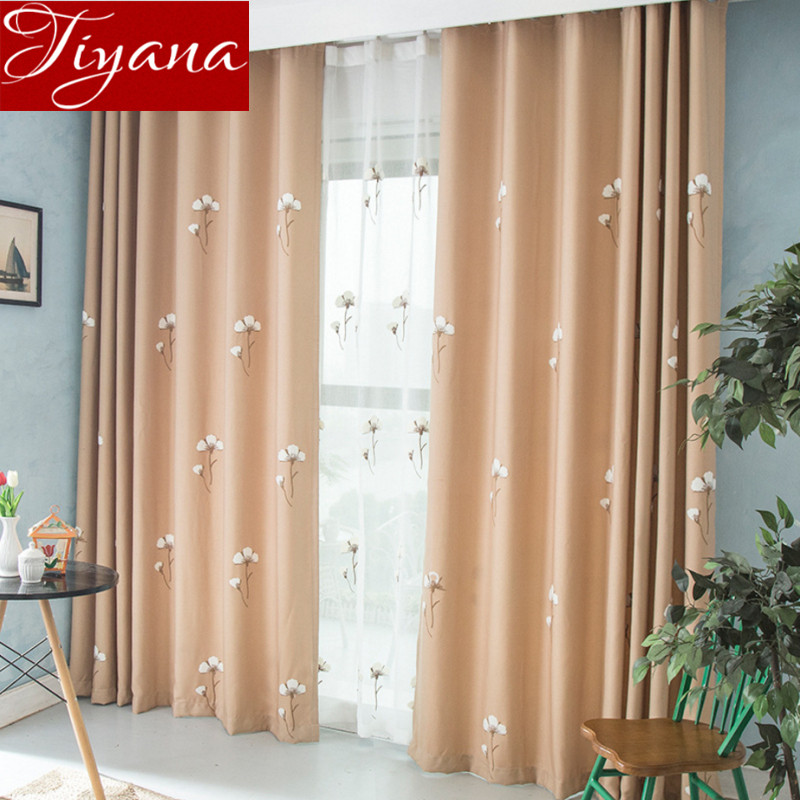 pantalla de la ventana de hilados voile cortinas bordado floral moderno moderno dormitorio sala de estar