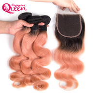 1B/Pink Ombre Color Body Wave with Lace Closure Remy Human Hair Weave Human Hair Weave 3 Bundles with Closures Dreaming Queen