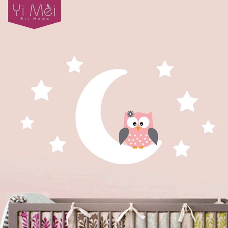 Moon stars owl good night nursery wallpaper wall decal sticker painted paper children baby room nursery bedroom 60105cm home in wall stickers from home