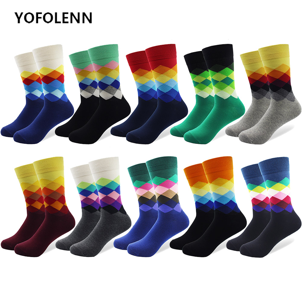 10 Pairs/lot Plus Size Casual Colorful Happy   Socks   Plaid Pattern Men Funny Cotton   Socks   Warm British Style Breathable Skate   Sock