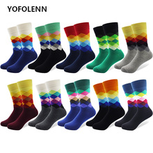 10 Paren/partij Plus Size Casual Kleurrijke Gelukkig Sokken Plaid Patroon Mannen Grappige Katoenen Sokken Warme Britse Stijl Ademend Skate Sok