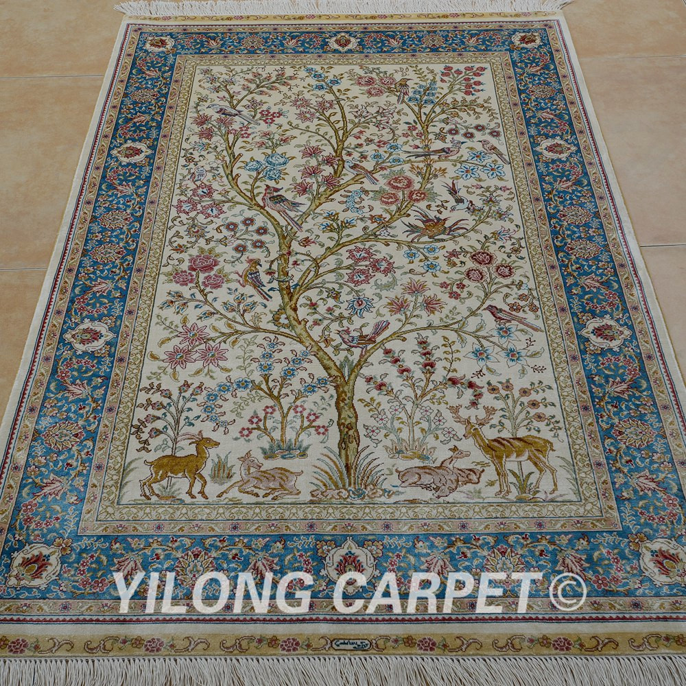 Yilong 3.3'x5' Tabriz silk carpet tree of life tapestry handmade exquisite traditional Turkish silk rugs (0074)