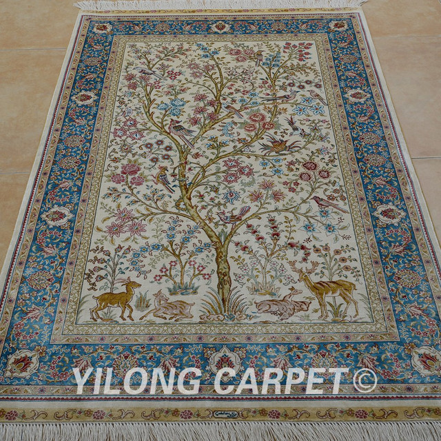 Yilong 3 X5 Tabriz Silk Carpet Tree Of Life Tapestry Handmade Exquisite Traditional Turkish