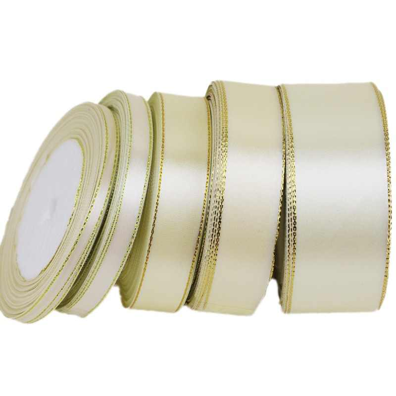 (25 yards/lot) Cream White Gold Edge Ribbon high quality satin ribbons gift packaging ribbons