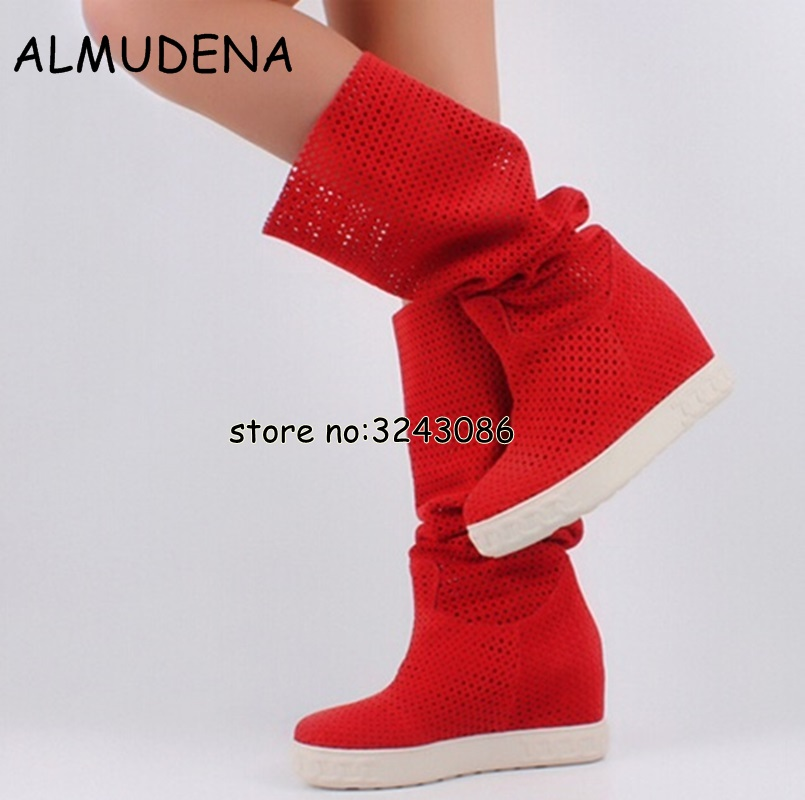 Top Quality Lady Fashion Hidden Wedge Platform Cut-out Sandals Boots Woman Rome Style Suede Knee High Long Boots ShoesTop Quality Lady Fashion Hidden Wedge Platform Cut-out Sandals Boots Woman Rome Style Suede Knee High Long Boots Shoes
