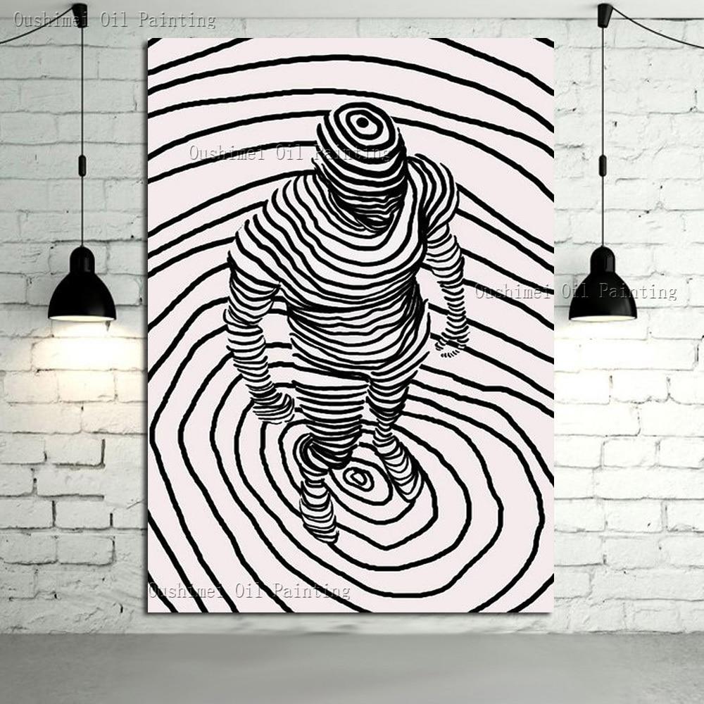 Uitzonderlijk Superb Kunstenaar Handgeschilderde Hoge Kwaliteit Abstracte Man @BI63