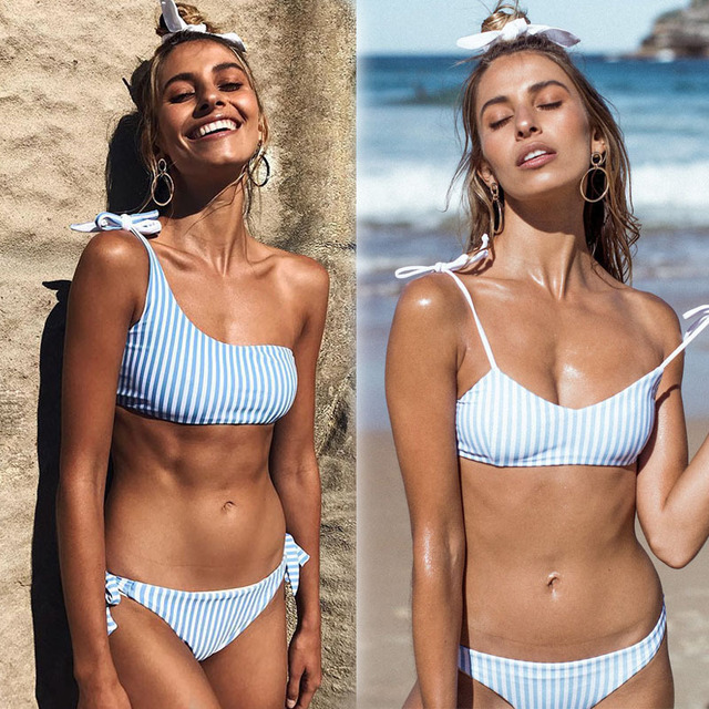 df08de4e36 2018 New Sexy Ladies Swimsuit Blue Vertical Striped Printed Bikini Set Navy  Strap Striped Swimwear Single Shoulder Bathing Suit