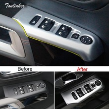 Tonlinker Interior Windows Control Cover Stickers for Citroen C5 Aircross 2017-19 Car Styling 4 PCS ABS/Stainless steel Stickers