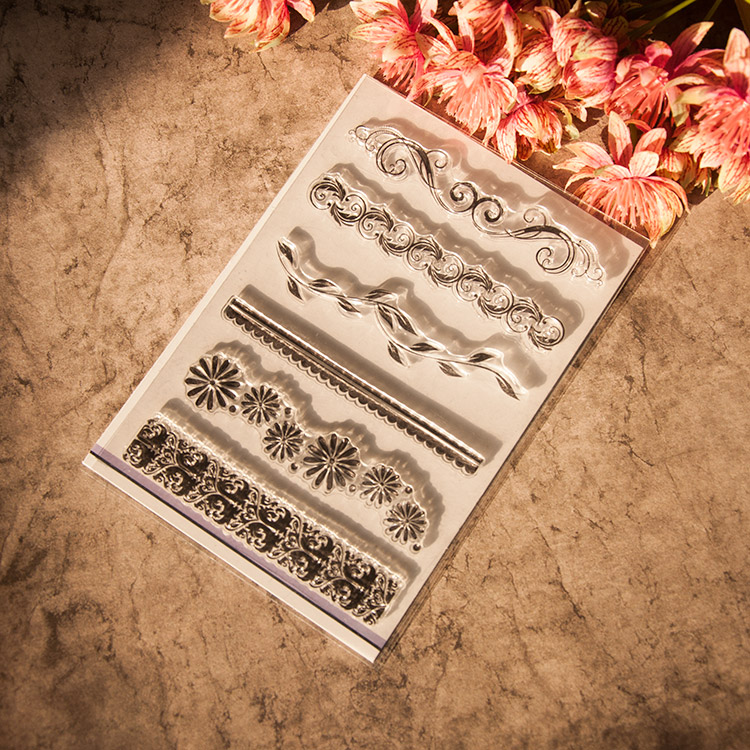 Diy photo album / scrapbook selo selos decorativos de silicone transparente flor faixa YJ6628