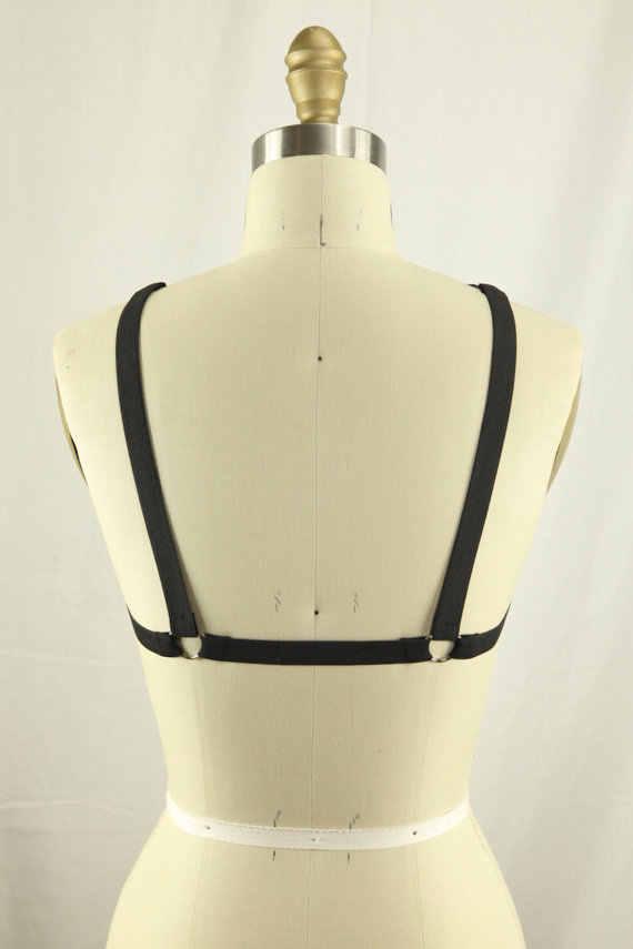 2017 new pastel goth lưới ngực dây đeo ngực bondage O ring đồ lót sexy hàng đầu lồng áo ngực with garterbelt bán lẻ