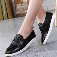 2019 New Women Sneakers Fashihon Vulcanized Shoes Women Pu leather Platform Shoes Women Lace up Casual Shoes White