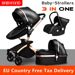 Multi-functional Baby stroller 3 in 1 360 degree rotate gold frame PU Leather Pram EU safety Car Seat Bassinet newborn 0-3 years