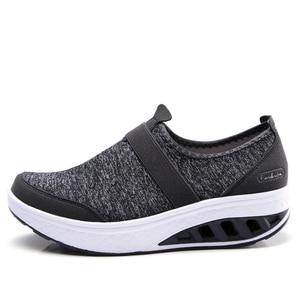 Image 3 - STQ 2020 sonbahar kadın Sneakers ayakkabı düz platform ayakkabılar kadınlar nefes örgü rahat ayakkabılar üzerinde kayma sürüngen yürüyüş ayakkabısı 7697