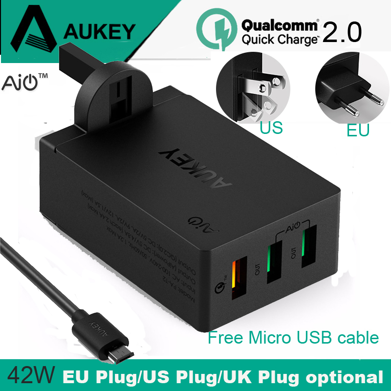 AUKEY Quick Charge 2.0 USB Wall Charger 3 Port USB US UK EU Plug Smart Fast Turbo Mobile Charger for Phone Tablet Power Bank