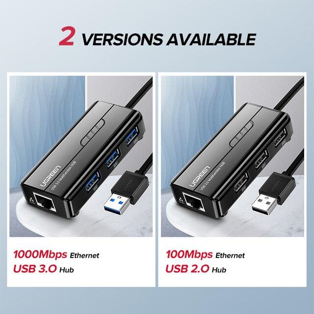 Ugreen USB Ethernet USB 3.0 2.0 to RJ45 HUB for Xiaomi Mi Box 3/S Set-top Box Ethernet Adapter Network Card USB Lan 5