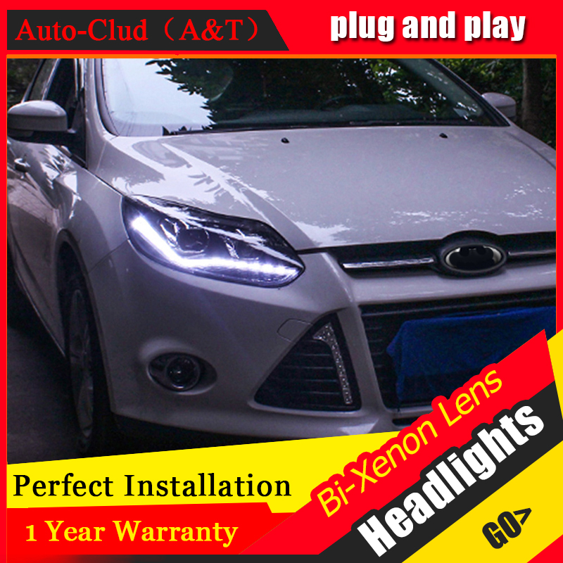 Auto Clud Car Styling for PW Ford Focus Headlights New Focus LED Headlight DRL Lens Double