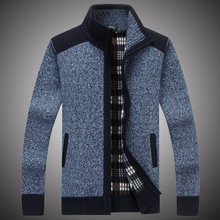 Sweaters Men Autumn Winter Casual Hip Hop Jacket Thick Slim Fit Zipper Coat 2018 Autumn Patchwork Sweater for Men Grey S067