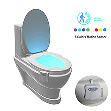 8 Colors LED Lights on the Toilet Seat Backlight Motion Sensor Night