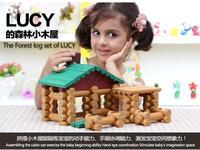 90 pcs trẻ em thương hiệu cabin bằng gỗ lắp ráp nhà búp bê/trẻ em log rừng biệt thự bằng gỗ đồ chơi giáo dục với tiếng Anh hướng dẫn