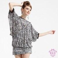 2016 Korean One Size Autumn Bat Sleeve Round Neck Short Sleeved Dress Skirt Leopard Print Dress