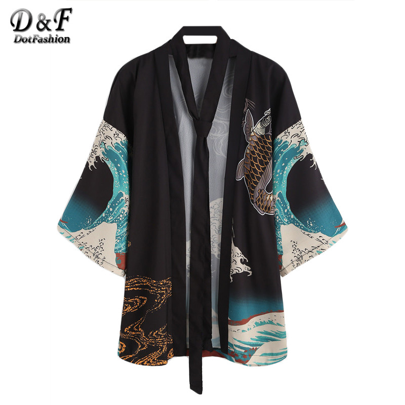 Dotfashion 2016 New Style Women Cardigan Multicolor Ladies Spindrift And Carp Print With Belt Tops Half Sleeve Beach Wear Kimono
