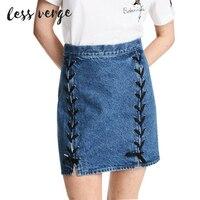 LESSVERGE Lace Up Denim Skirt Women Bottom High Waist Zipper Mini Skirt 2017 New Blue Streetwear