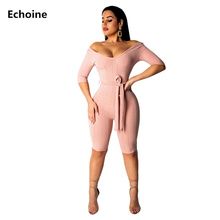 все цены на Summer Women V-neck Playsuit Sexy Skinny Bodycon Rompers Jumpsuit Belt Hollow Out Club Outfit Elegant Party Playsuit Bodysuit