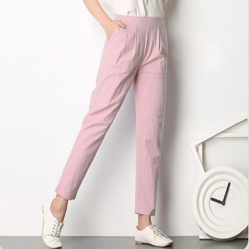Respirável Mulheres Casual Calças New Verão Outono Plus Size Fino Linho Pents Calças Fêmeas Magros Elásticas Pantalones Mujer