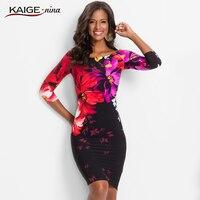 KaigeNina New Fashion Hot Sale Women Flower Natural Simple Printing Cloth Slash Neck Mid Calf Knitting