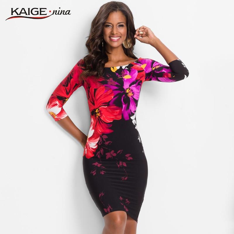 KaigeNina New Fashion Hot Sale Women Flower Natural Simple Printing Cloth slash Neck Mid Calf knitting cotton Dress 18001| | - AliExpress