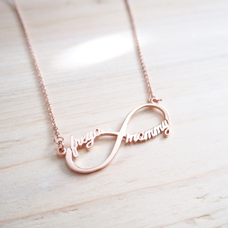 2018 Stainless Steel Infinity Name Necklace Women Rose Gold Chain Custom Initials Necklace Jewelry For Women Men Friendship Gift