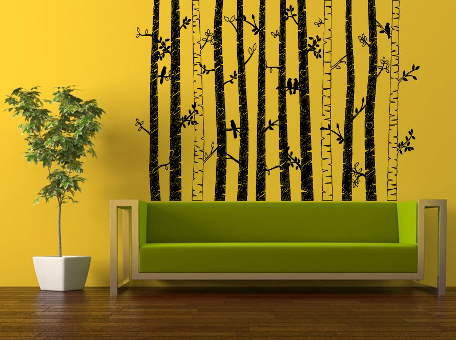Online get cheap birch tree decals for Birch trees wall mural